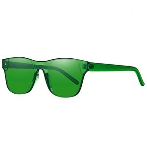 Rimless Wayfarer Sunglasses Retro Green Classic NW